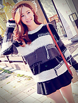 Pink Doll®Women's Casual Patchwork Striped Loose Long Sleeve Pullover