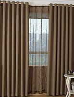 (One Panel)Modern Linen Brown Blackout Curtain