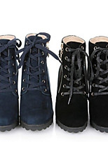 Women's Shoes Faux Leather Chunky Heel Combat Boots Boots Casual Black/Blue