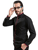 2015 Men Shirt Black Color Red Adge Mandarin Collar Contrast Buttons Casual Long sleeve 4302