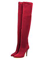 Women's Shoes Suede Stiletto Heel Fashion Boots/Pointed Toe Boots Outdoor/Casual Black/Red