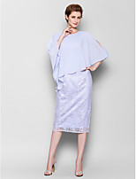 Sheath/Column Mother of the Bride Dress - Sky Blue Knee-length 3/4 Length Sleeve Chiffon/Lace