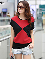 Women's Patchwork/Color Block Blue/Red/White/Orange T-shirt , Round Neck Short Sleeve