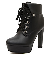 Women's Shoes  Chunky Heel Round Toe Boots Casual Black/White