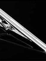 Men's Slant Stripes Silver Wedding Suit Shirt Mens Tie Bar Clip Clasp