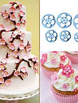6pcs ciruela cortador de la galleta del cortador de la torta que adorna el sugarcraft flor fondant émbolo