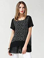Women Fashion Loose Casual Large Plus Size Print Chiffon Patchwork False Two Piece 2 in 1 Short Sleeve Blouse Shirt Tops