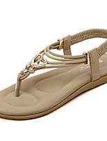 Chaussures Femme Faux Cuir Talon Plat Bout Arrondi Sandales Décontracté Bleu/Marron/Violet