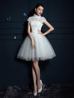 Vestido de Boda - Blanco Corte en A Corto/Mini - Cuello Alto Tul