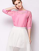Women's Pink T-shirt , Round Neck ¾ Sleeve