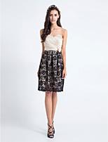 Knee-length Lace/Satin Bridesmaid Dress Sheath/Column Sweetheart