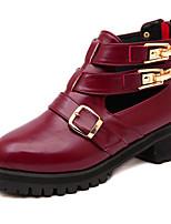 Chaussures Femme - Décontracté - Noir / Bordeaux - Kitten Heel - Rangers - Bottes - Similicuir