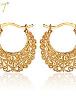 U7® Women's Vintage Earrings Platinum/18K Real Gold Plated Jewelry Gifts Hollow Flowers Round Fancy Hoop Earrings