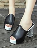 Scarpe Donna Finta pelle Quadrato Spuntate Sandali/Ciabatte Formale/Casual Nero/Bianco