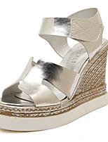 Zapatos de mujer Semicuero Tacón Cuña Cuñas/Plataforma/Punta Abierta Sandalias Vestido Blanco/Plata