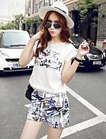 Women's Casual Inelastic Short Sleeve Regular Set(Polyester)