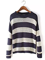 Women's Striped Beige Pullover , Casual Long Sleeve
