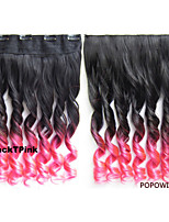 140g 24'' 60cm  Wavy Curl Clip in Hair Extensions Ombre Rainbow Color Women Synthetic Clip In Hairpiece