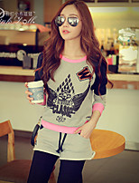 Pink Doll®Women's Casual Print Letter Patchwork Long Sleeve Short Suits