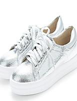 Scarpe Donna - Sneakers alla moda - Casual - Punta arrotondata - Plateau - Finta pelle - Nero / Argento