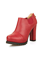 Women's Shoes  Chunky Heel Heels/Round Toe Boots Office & Career/Dress/Casual Black/Yellow/Burgundy