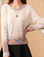 Women's Patchwork Blue/Pink/Beige Pullover , Casual Long Sleeve