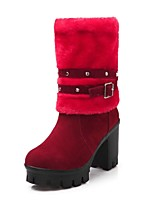 Women's Shoes Chunky Heel Fashion Boots/Round Toe Boots Office & Career/Dress/Casual Black/Brown/Red/Beige