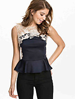Women's Sexy/Casual Micro Elastic Sleeveless Regular Blouse (Lace/Cotton Blends)