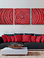 E-HOME® Stretched Canvas Art Red Decorative Painting  Set of 3