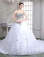 A-line Cathedral Train Wedding Dress -Sweetheart Organza