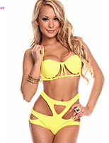 Women's Halter Bikinis , High Rise/Solid/Bandage Push-up/Padded Bras/Underwire Bra/Padless Bra Polyester/Spandex Yellow/Red