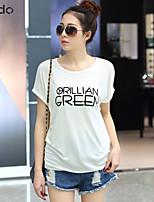 Women's Print White/Blue/Red/Black/Orange T-shirt , Round Neck Short Sleeve