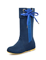 Women's Shoes  Wedge Heel Slouch/Round Toe Boots Casual Black/Blue