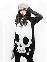 Women's Casual/Print Inelastic Long Sleeve Long T-shirt (Cotton Blends)