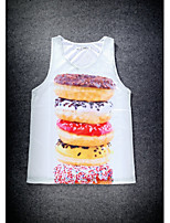 European Style Double Net Hole Vest Digital Printing 3D Sleeveless Sweet Circle Harajuku Vest