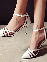 Women's Shoes Leather Stiletto Heel Heels Pumps/Heels Party & Evening/Casual White