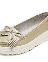 Women's Shoes Leather Wedge Heel Creepers/Round Toe Fashion Sneakers Casual White/Silver/Gold