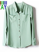 ZAY Women's Work Stand Collar Chiffon Shirt More Colors