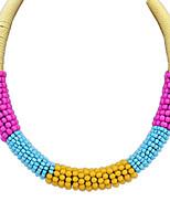 Women's Fashion Ethnic Style Braided Rope Beaded Acrylic Necklace