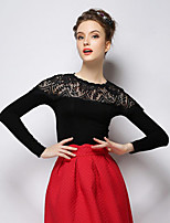 Women's Black T-shirt , Round Neck Long Sleeve
