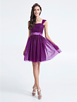 Knee-length Tulle Bridesmaid Dress - Grape A-line Square