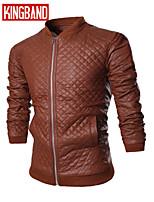 Men's Casual Pure Long Sleeve Regular Jacket (PU) KB7B06
