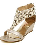 Zapatos de mujer Semicuero Tacón Cuña Cuñas Sandalias Vestido/Casual Negro/Oro