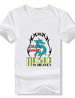 Katoenmix/Elastisch - Print - Heren - T-shirt - Informeel/Werk/Sport - Korte mouw