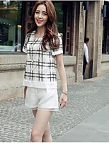 Women's White Blouse , Round Neck Short Sleeve Mesh
