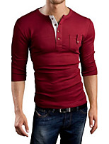 Men's Casual Pure Long Sleeve Regular T-Shirt (Cotton)