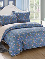 Dark Blue Floral Cotton Bedding Set of 4pcs Queen Size