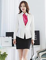xiw&F Women's Casual/Work/Plus Sizes Fashion Slim Ruffle Solid Long Sleeve Blazer