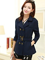 Women's Solid Blue/Red/Green/Beige Trench Coat , Casual/Work Long Sleeve Cotton Blends