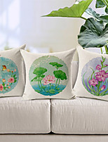 Set of 3 Country Flowers Patterned Cotton/Linen Decorative Pillow Covers